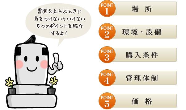 霊園をえらぶときに気をつけないといけない5つのポイントを紹介するよ! POINT1 場 所 POINT2 環境・設備 POINT3 購入条件 POINT4 管理体制 POINT5 価 格
